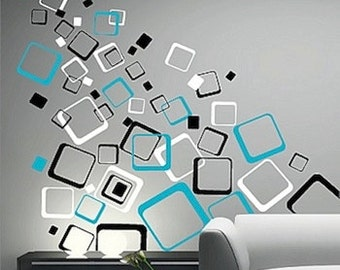 square shapes wall decals modern wall designs removable wall shapes cool wall decor trendy wall designs unique square decals d11 - Simple Shapes Wall Design