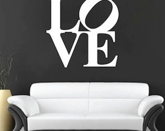 Love Square Wall Decal, Love Wall Decal, Romantic Decals, Bedroom Love  Decals, Part 30