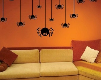 Crawling Spiders Halloween Decals, spider wall decals, halloween window murals, halloween party decoration, removable halloween decals, h01