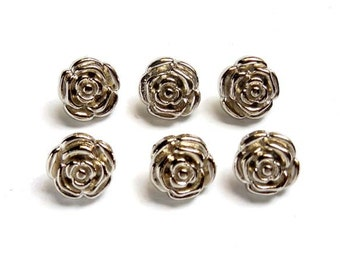 10 Sets Silver Rose Rivet Studs - 20-R-7