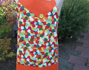Colorful Lined Front Pocket Womens Apron