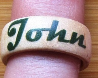 Your Name Here -- custom adjustable wood finger ring