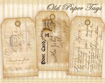 Vintage paper gift tags Printable gift tags Digital collage sheer Paper goods Vintage images Shabby paper tags