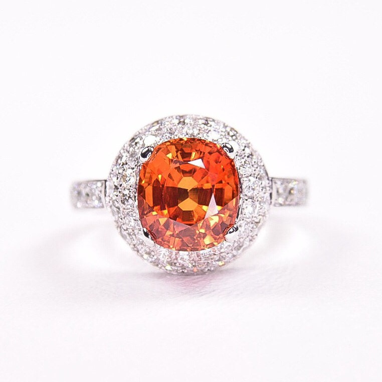 14k white gold orange sapphire ring by masterjeweler on etsy