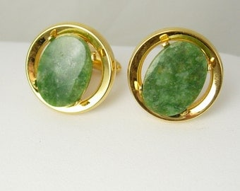 Vintage green Fancy Cufflinks Hallmark D Holidays Birthday Wedding groom cuff links jewelry