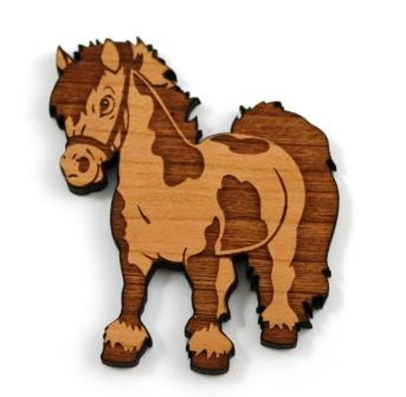 Laser Cut Supplies-1 Piece.Pony Charms -Cherry Wood Laser Cut Pony -Brooch Supplies- Little Laser Lab Sustainable Wood Products