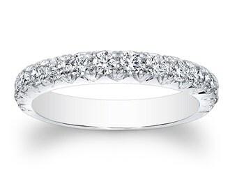 Ladies Platinum vintage antique wedding band 0.66 ctw G-VS2 diamonds