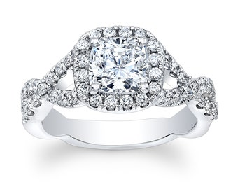 Ladies 14kt white gold antique engagement diamond halo ring with 1.50 ct natural cushion white sapphire center 0.50 ctw G-VS2 diamonds