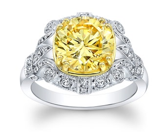 Women's 18kt white and yellow gold vintage antique diamond engagement ring w/3.50ct round yellow Lannyte center 0.40 carats G-VS2 diamonds
