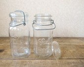 Set of 2 square Mason jars  / Vintage Ball jars with lids and wire bale
