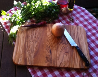 Olive Wood cutting board or snack board - modern, thin version, clued - Olivenholzbrett