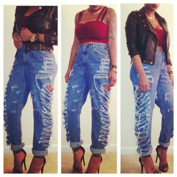 ripped up high waisted jeans - Jean Yu Beauty