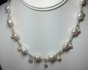 Simple Freshwater Pearl Wire Wrapped Necklace
