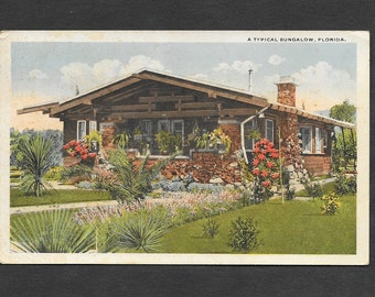 Florida Bungalow Real Photo Postcard 1920 Used with Writing and Stamp Vintage Ephemera RPPC Architectural Collectible