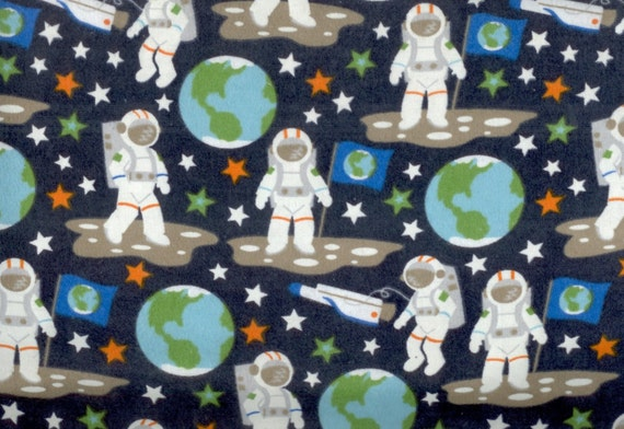Glow in the dark space flannel fabric astronauts planet earth for Space flannel