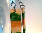 Green Orange Hanji Paper Earrings OOAK Dangle Earrings Patchwork Design Chinese Characters Handmade Hypoallergenic hooks Lightweight