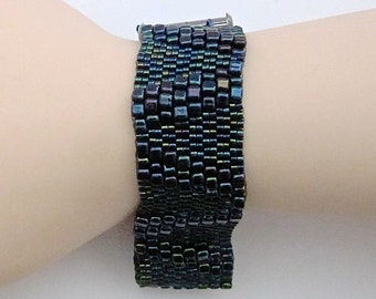 Three of V Beaded Wrist Cuff Bracelet