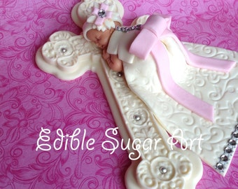 BAPTISM CAKE TOPPER Baby Girl Christening gown BaptismDiamond studded dress communion dress cross baptism
