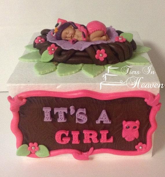 Knitting Cake Toppers : Items similar to owl baby shower cake topper fondant