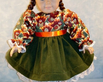 18 Inch Doll Clothes - Turkeys on Green Thanksgiving Dress for 18 inch dolls