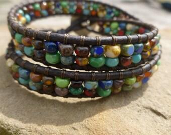 5/0 Cut Opaque Picasso Mix 2X Wrap Bracelet