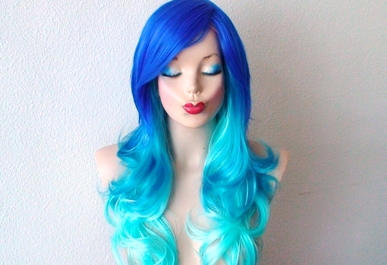 Blue Ombre Wig Electric Blue Turquoise Teal By Kekeshop