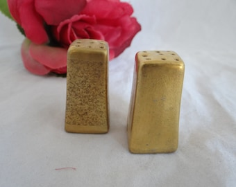 Vintage Ceramic Gold Tone Salt and Pepper Shakers