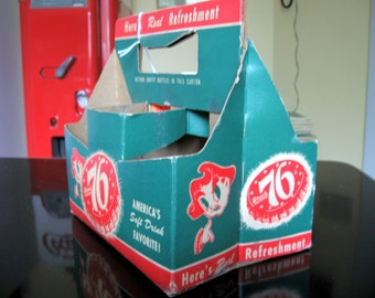 1950s-60s 76 Soda Pop Cardboard 6 Bottle Carrier