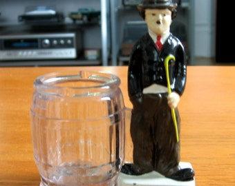 Vintage 1930s Charlie Chaplin Glass Candy Container by CEO Burgfeldt