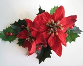 Red Poinsettia Christmas Flower Corsage, Wedding, Party or Event.