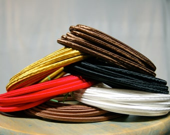 25 Feet: 2-Wire Cloth Cord, FREE US SHIPPING, Black Brown Gold Red or White, Vintage Style Cloth Covered Electrical Cord, Lamps, Desk Fans