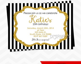 Black White Gold Invitations