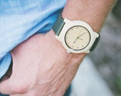 Wooden Watch - Made from Maple Wood and Dark Green Canvas Strap - KNTY-C