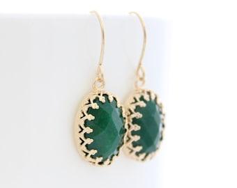 Emerald earrings • Gold earrings set with green jade gemstones