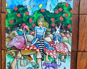Alice in Wonderland Nursery Art Original Watercolor Painting reserved for Anna Lea Matlock