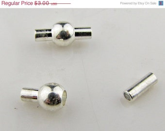 Magnetic clasp, brass, platinum color, 1.75mm hole, 13mm long, 6mm wide, 3 clasps