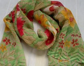 Small Scarf Indian Sari Scarf Green Floral Neck Scarf SSF0