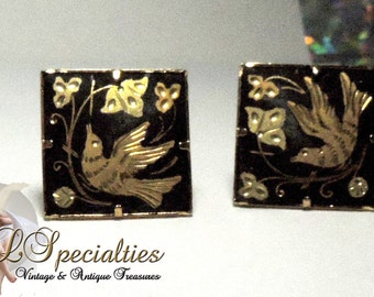 Damascene Bird and Floral Vintage Earrings Silver Gold Enamel Copper