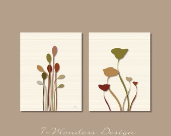 Modern Floral Art Print Set - Poppies and Reeds Silouettes // Set of (2)  Prints - 5x7 OR 8x10 // Modern Digital Fine Art Home Decor