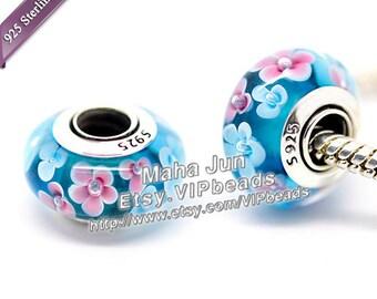 Top High Quality  925 Silver Screw Core Murano Glass Beads  Lampwork European Charm Bead Fits European Charm Bracelets/ ZS010