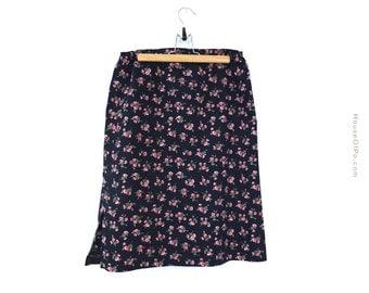 Vintage 60s floral skirt, 60s pencil skirt, 1960s skirt