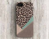 Leopard iPhone 5 case, Leopard iPhone 4 case, leather print iphone case Leopard iPhone 5s case winter iPhone 5c case fur mint brown c275