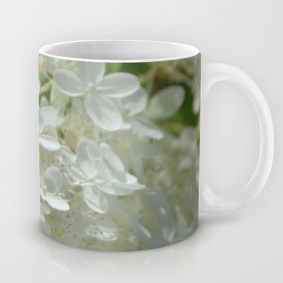 In Stock 11 oz. Coffee Mug Featuring My Photo of a White Hydrangea. 15 oz. is Made to Order.