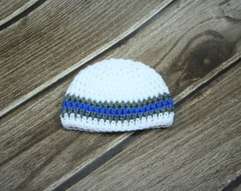 Newborn Crochet White and Blue Boys Beanie, Toque, Hat