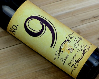 Custom Wedding Wine Label, Personalized wine Label, wedding Wine bottle label, Table number wine label Q003