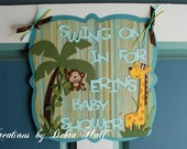 Paper pieced baby shower junlge door sign