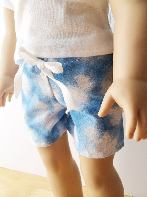 """American Girl 18"""" Doll Clothes Blue Clouds Pajama Shorts"""