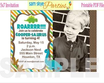Dinosaur Birthday Party Printable Invitation, PDF File, Boy Birthday Party