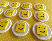 """12 Fondant """"Lego man's head"""" inspired cupcake toppers, building blocks, """"lego"""" inspired birthday party"""