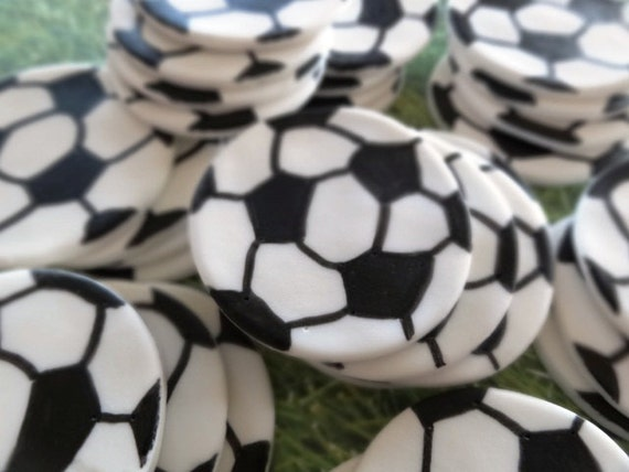 Soccer Ball Edible Sugar Decorations New 12 Fondant Edible Cupcak Toppers Fondant Soccer Balls Sport Design Inspiration